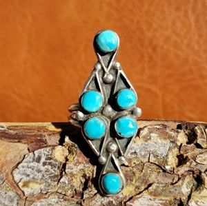 Vintage Turquoise Sterling Silver Ring Sz 6.75